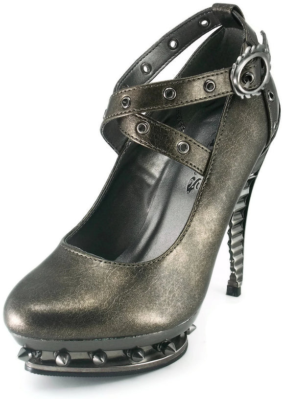 Hades Shoes - Triton Pewter Steampunk Heels - Egg n Chips London