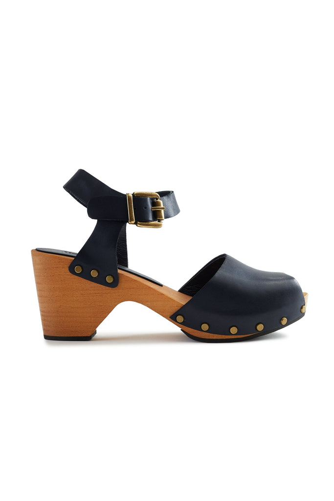 leather peep toe clogs in dark navy