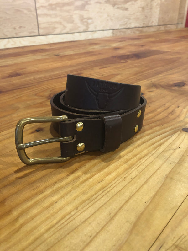 7-8oz Leather Belt with Buckle - Brown