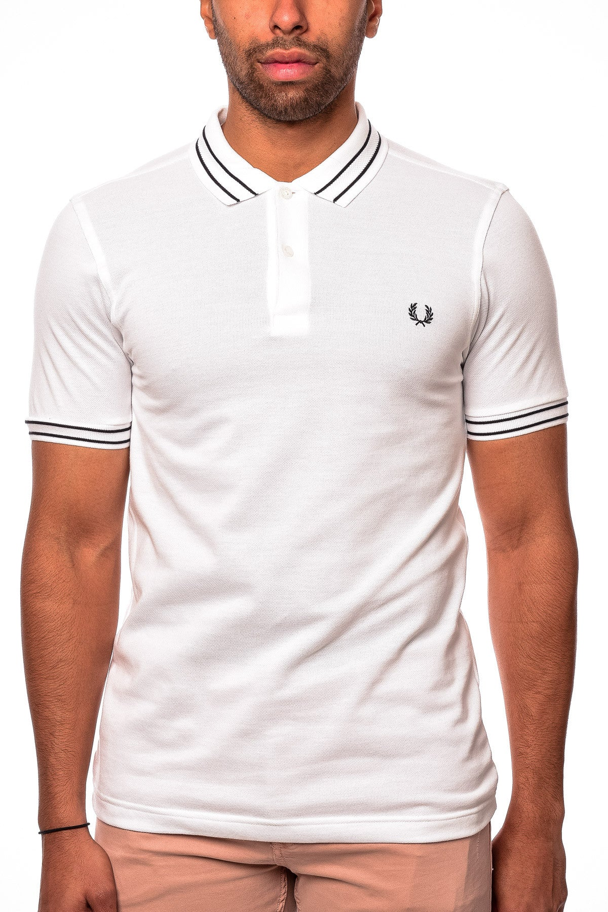 Fred Perry M1500 Tramline Tipped Pique Shirt White Polo