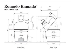 "22"" HI-CAP TABLE TOP - CAD Drawing - KomodoKamado"