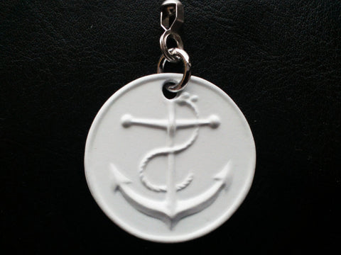 Double Sided Pewter Anchor Ceiling Fan Pull Chain-White
