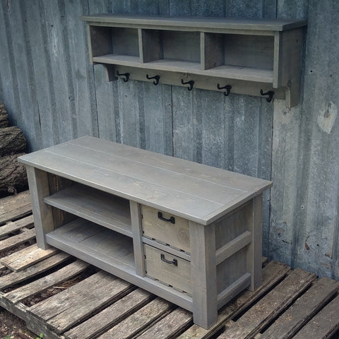 Double Stacked Bench and Shelf Cubby Set