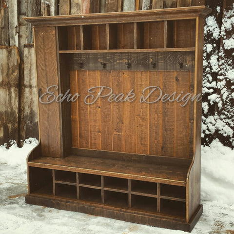 XX**RESERVED CUSTOM LISTING for 2 Rustic Farmhouse Hall Tree Lockers for Laura - 50% Deposit**XX