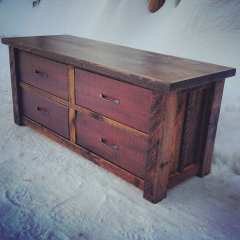Barn Wood Red Entry Drawer Bench