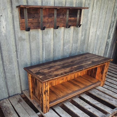 XX**RESERVED Custom Reclaimed Barn Wood Bench and Shelf Cubby for Scott**XX