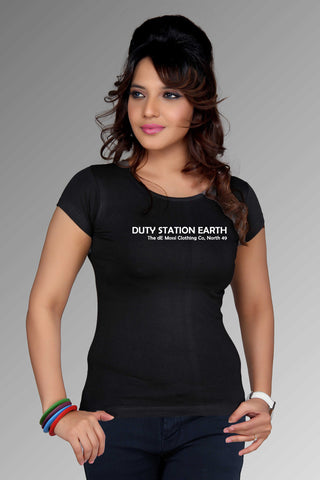 DUTY STATION EARTH Ladies T-Shirt - The dE Mossì Clothing Co. North 49