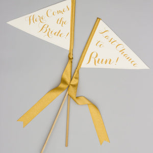 Here Comes The Bride + Last Chance To Run (Set of 2 Flags) Flower Girl