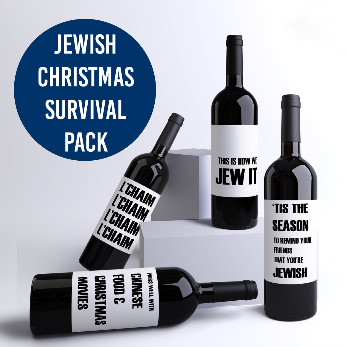 Christmas Survival Kit Jewish Wine Bottle Labels L'chaim