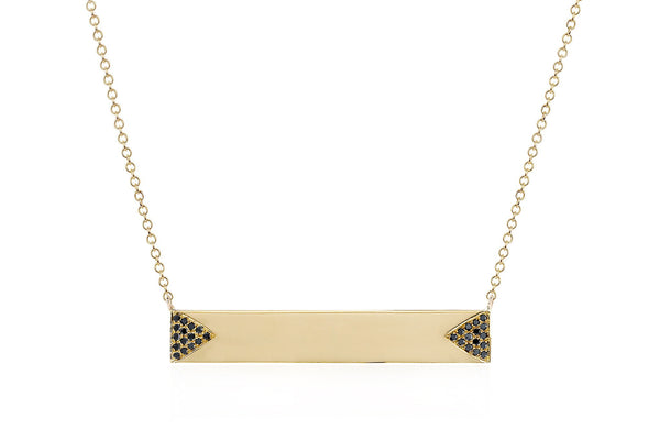 Black Diamond Double Triangle Nameplate Necklace