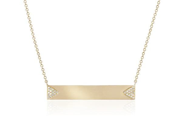EF Collection Diamond Double Triangle Nameplate Necklace - 1