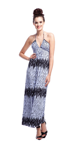 Tbags Los Angeles Deep-V Ruched Halter Maxi