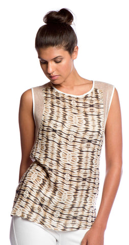 Tbags Los Angeles Sleeveless Woven Top with Mesh Contrast