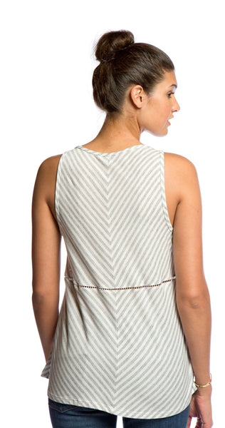 Ella Moss Mallory Lattice Stripe Cami in Platinum