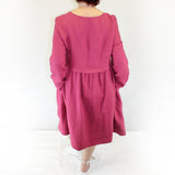 Yuvita Plus Size Linen Flax Modern Peasant Dress - Raspberry