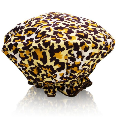 Spa Sister Bouffant Shower Cap - Leopard Print