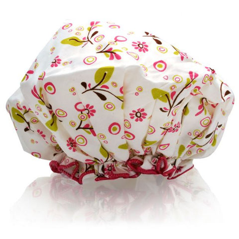 Spa Sister Bouffant Shower Cap - Olives Vines
