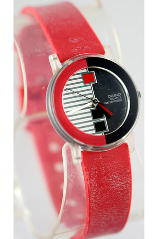 Casio LQ-65-4 Ladies Vintage 1990s Analog Watch Red Techno Design New