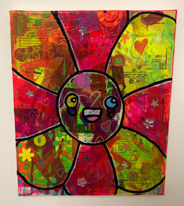 Happy flower by Barrie J Davies 2019, Mixed media on Canvas, 25cm x 30cm, Unframed