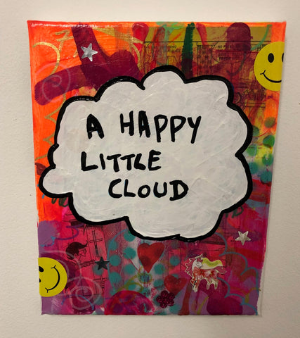 Happy Little Cloud by Barrie J Davies 2019, Mixed media on Canvas, 25cm x 30cm, Unframed.