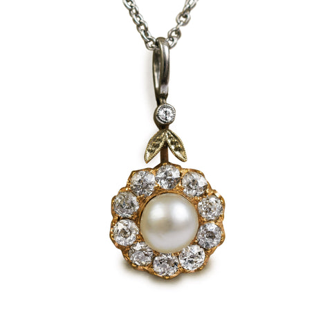 Antique Pearl and Diamond Pendant