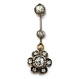Scintillating Victorian Diamond Flower Drop Earrings