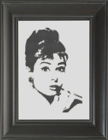 Audrey Hepburn BW - Cross Stitch Pattern Chart