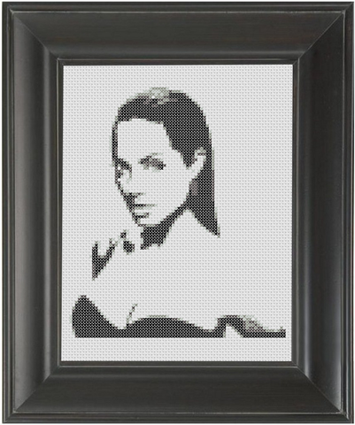 Angelina Jolie BW - Cross Stitch Pattern Chart