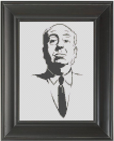 Alfred Hitchcock BW - Cross Stitch Pattern Chart