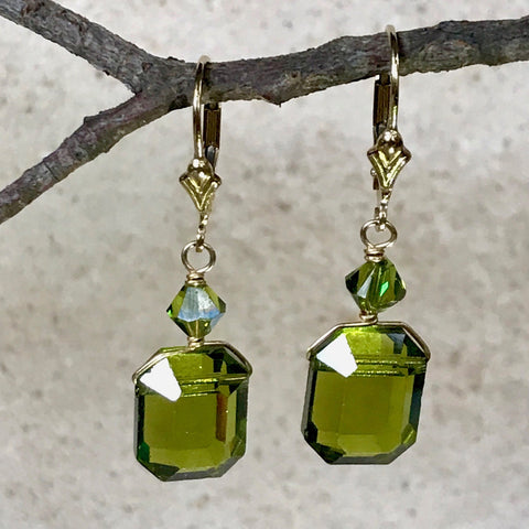 Vintage Emerald Cut Crystal Earrings — L — Olivine