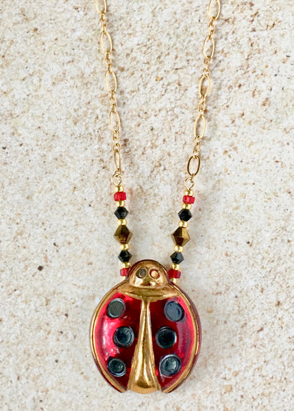 Playful Red Ladybug Pendant Necklace