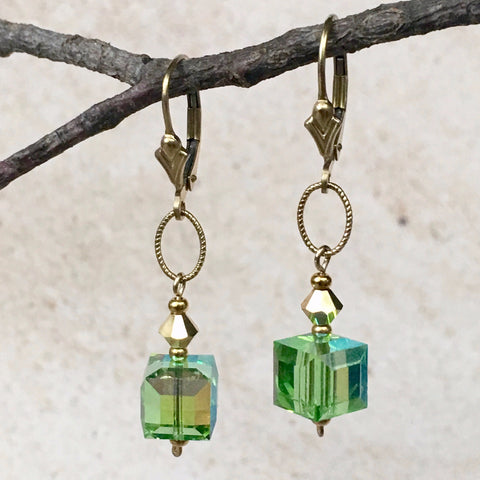 Caribbean Dreams Crystal Earrings — Peridot
