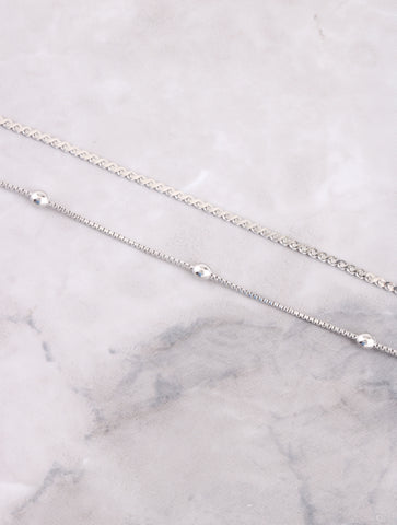Double Beaded Anklet Anarchy Street Silver - Details