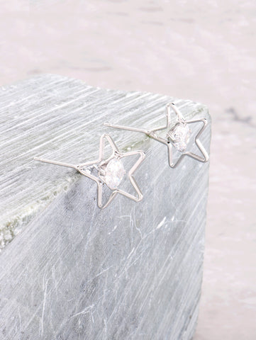 3D Star Earrings Anarchy Street Silver