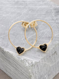 Dainty Love Loop Stud Earrings Anarchy Street Black