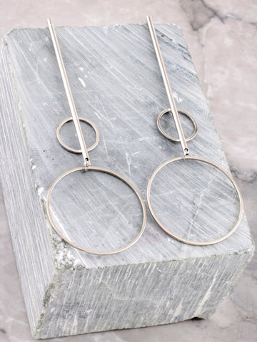 Double Radius Bar Earring Anarchy Street Silver