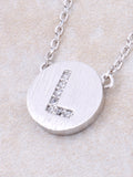 Circle Initial Necklace Anarchy Street - Silver L