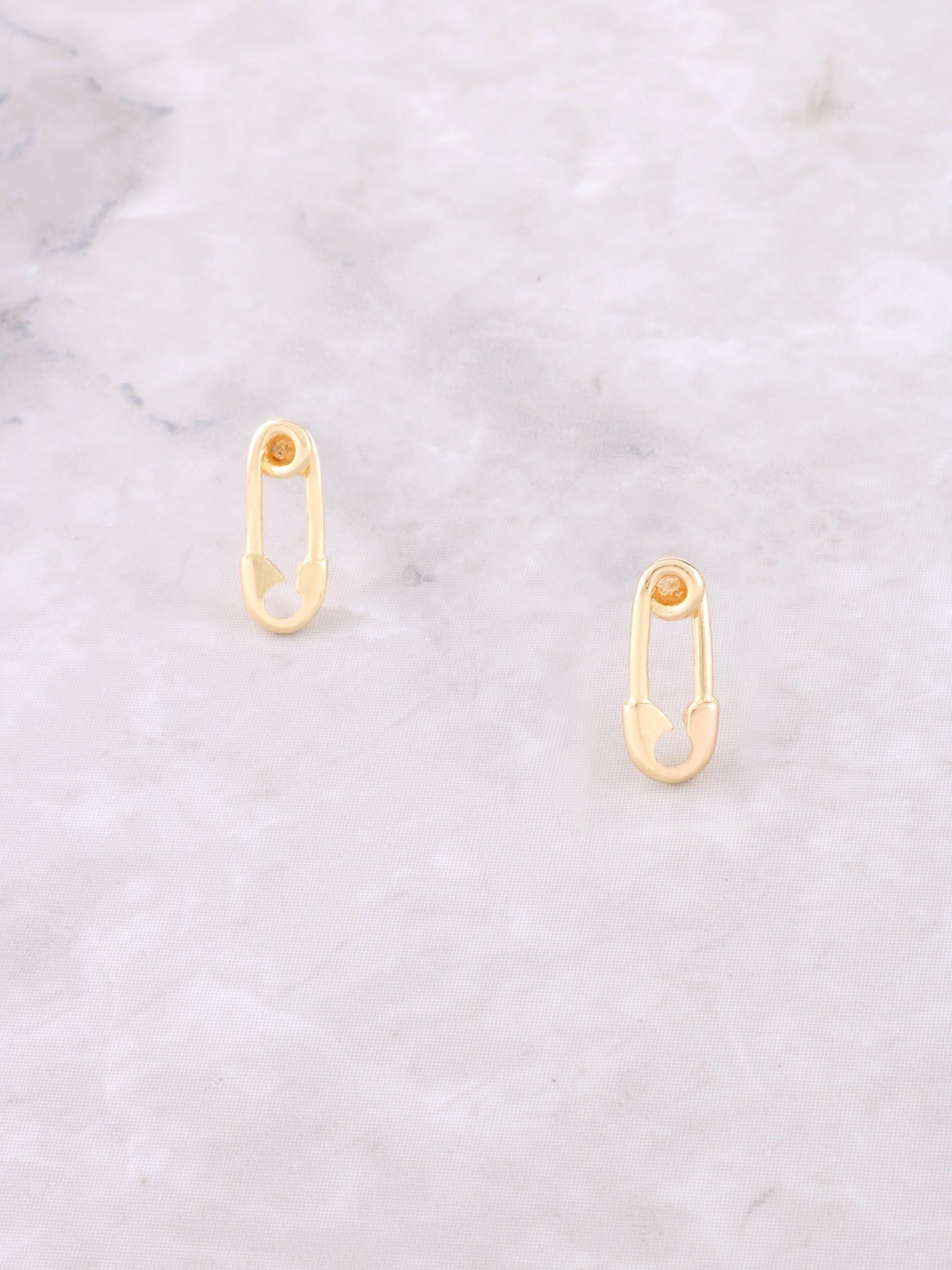 Safety Pin Stud Earring Anarchy Street Gold