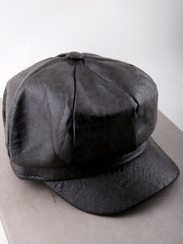 Vegan Leather News Boy Hat Anarchy Street Black