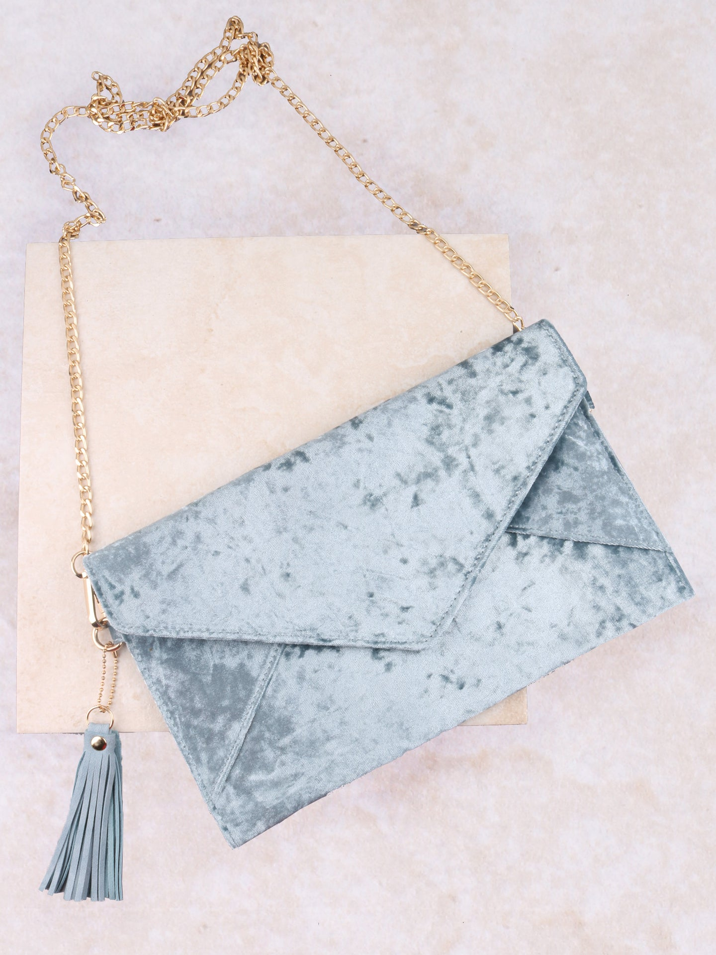 Velvet Clutch Bag Anarchy Street Blue
