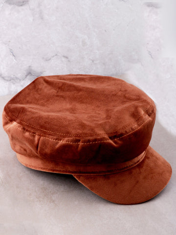 Velvet Cabbie Hat Anarchy Street Brown