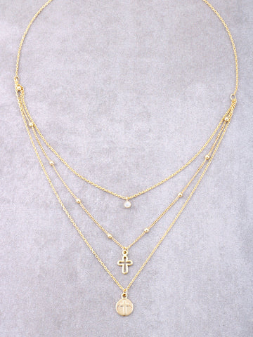 Triple Chain Dainty Cross Necklace Anarchy Street Gold