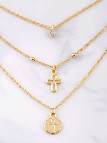 Triple Chain Dainty Cross Necklace Anarchy Street Gold - Details