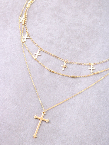 Hanging Crosses Layered Necklace Anarchy Street Gold