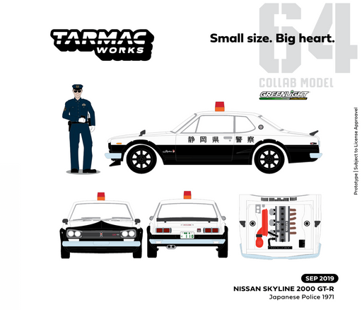 Greenlight 1:64 Japanese Police 1971 Nissan Skyline 2000 GT_R with Re-sealable Clamshell & Police figure (51420) diecast avaialble on sep 2019 pre-order item