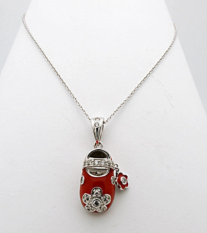 Sterling Silver Baby Enamel Shoe Pendant Necklace