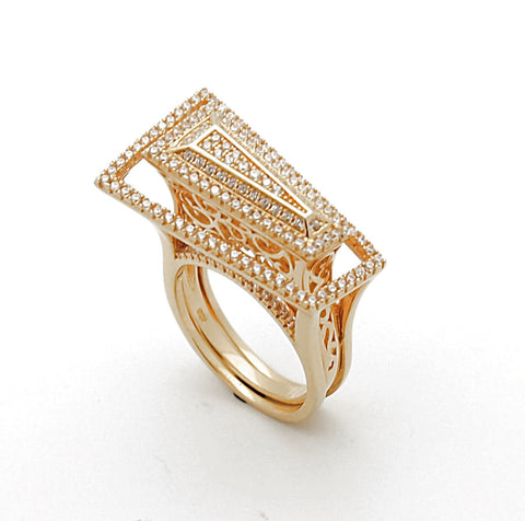 Sterling Silver 14k Gold Plated CZ Ring