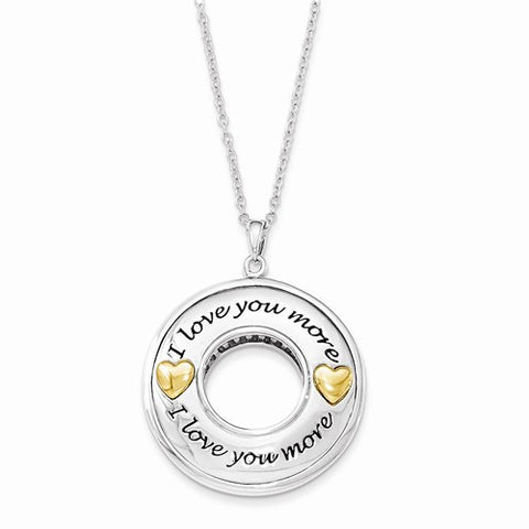 Sterling Silver Gold Plated Antiqued CZ I Love You More 18in. Necklace
