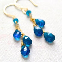 Oasis Earrings - electric blue apatite gemstone tendrils dangle earrings in gold or silver