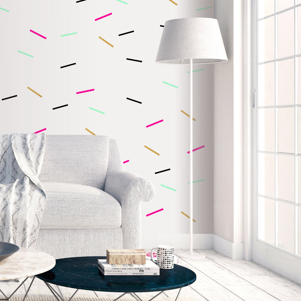 PINK BLACK GREEN GOLD SPRINKLES WALL DECALS by LA LA LAND